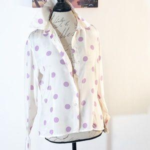 Tops - 100% Silk Chique Vintage • 14 Polca Dots